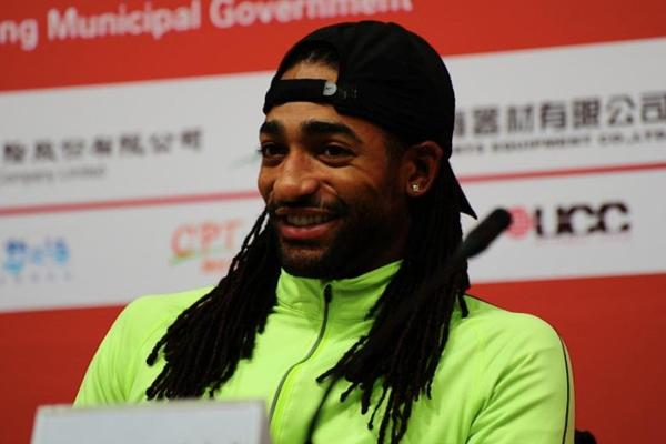 Jason Richardson at the press conference ahead of the 2013 IAAF World Challenge meeting in Beijing (Organisers)