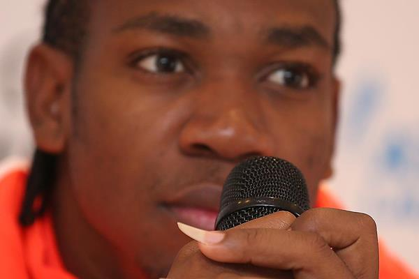 Yohan Blake at the press conference ahead of the 2014 IAAF Diamond League meeting in Lausanne (Giancarlo Colombo)