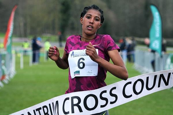 Birtukan Fente Alemu winning at the 2015 IAAF Antrim Cross Country International (Mark Shearman)