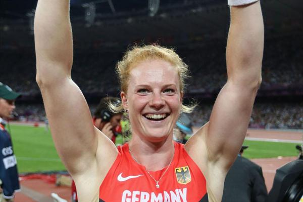 Betty Heidler of Germany celebrates after claiming the bronze medal in the Women's Hammer Throw Final  of the London 2012 Olympic Games on 10 August 2012 (Getty Images)