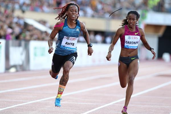 Michelle-Lee Ahye winning the 100m at the 2014 IAAF Diamond League meeting in Lausanne (Giancarlo Colombo)