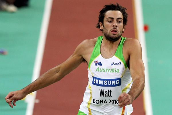 Mitchell Watt of Australia reaches the automatic qualifying mark in the long jump at the 13th World Indoor Championships in Athletics (Getty Images)