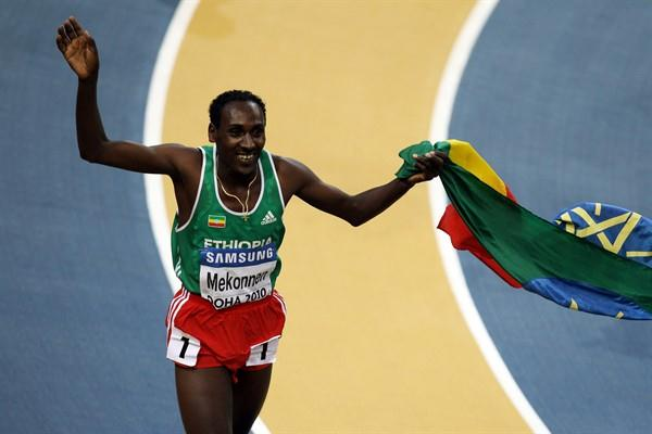 Deresse Mekonnen of Ethiopia celebrates gold in the 1500m (Getty Images)