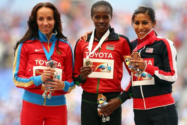 Womens 800m Medal Ceremony IAAF World Athletics Championships Moscow 2013 (Getty Images)