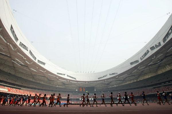 A general view of race walkers inside Beijing's Olympic stadium (Getty Images)