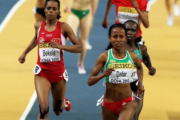 Defending champion Meseret Defar of Ethiopia competes in the 3,000m heats in Doha (Getty Images)