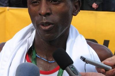 Joachim Nshimirimana after his second Ljubljana Marathon win (Bob Ramsak)