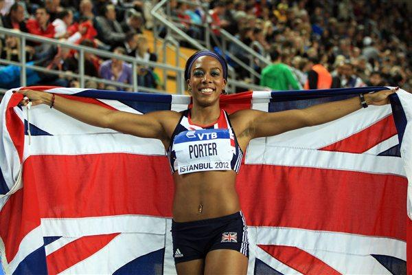 Silver medalist Tiffany Porter of Great Britain celebrating her performance in the Women's 60 Metres Hurdles Final during day two - WIC Istanbul (Getty Images)