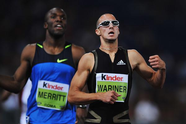 Jeremy Wariner just manages to hold off a strong challenge from LaShawn Merritt (Getty Images)