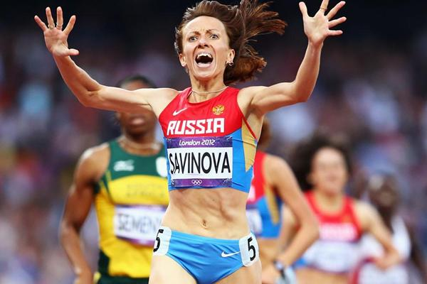 Gold Medal for Mariya Savinova of Russia as she crosses the finish line  in the Women's 800m Final of the London 2012 Olympic Games on 11 August 2012 (Getty Images)