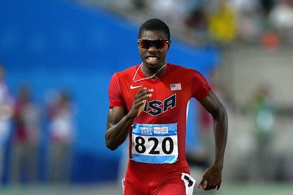 Noah Lyles winning the 200m at the 2014 Youth Olympic Games (YOG LOC)