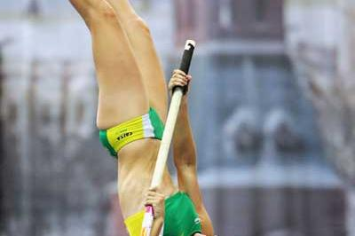 Fabiana Murer of Brazil during the Pole Vault qualification (Getty Images)