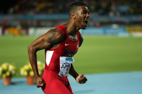 Brandon Johnson celebrates USA's win in the distance medley at the IAAF/BTC World Relays, Bahamas 2015 (Getty Images)