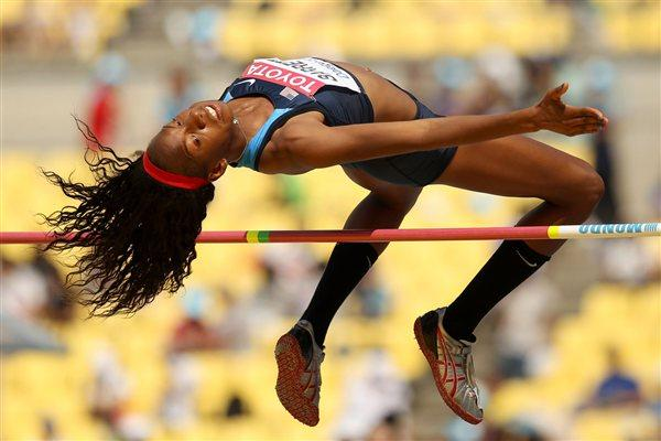 Brigetta Barrett in the qualification round of the women's High Jump (Getty Images)