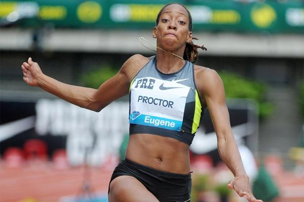 Shara Proctor, winner of the long jump at the IAAF Diamond League meeting in Eugene (Kirby Lee)