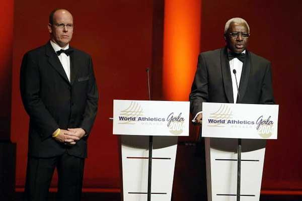 IAAF President Lamine Diack with HSH Crown Prince Albert of Monaco at the IAF Gala (Getty Images)