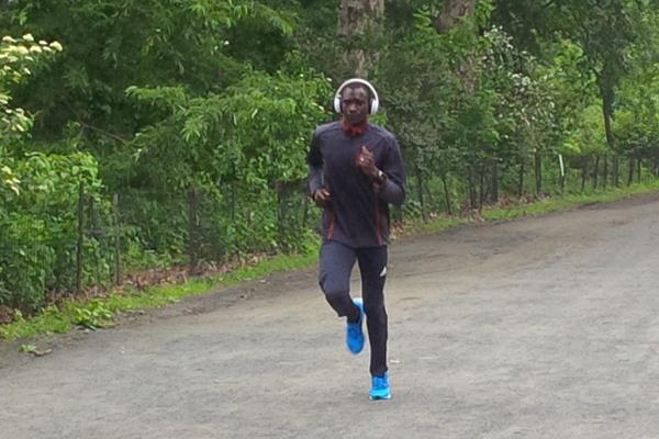 David Rudisha training in Central Park ahead of the 2014 IAAF Diamond League in New York (James Templeton)
