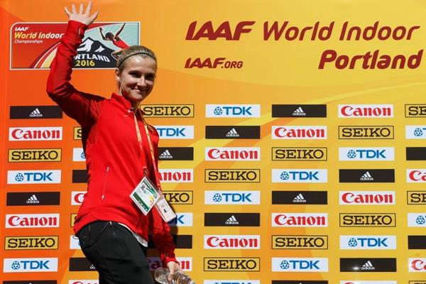 Brianne Theisen-Eaton at the press conference ahead of the IAAF World Indoor Championships Portland 2016 (Getty Images)