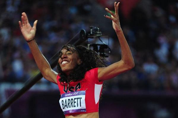 Brigetta Barrett of the United States is happy to win the silver medal in the Women's High Jump Final  of the London 2012 Olympic Games on 11 August 2012 (Getty Images)