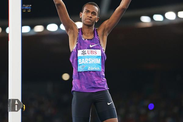 High jump winner Mutaz Essa Barshim at the IAAF Diamond League meeting in Zurich (Jean-Pierre Durand)