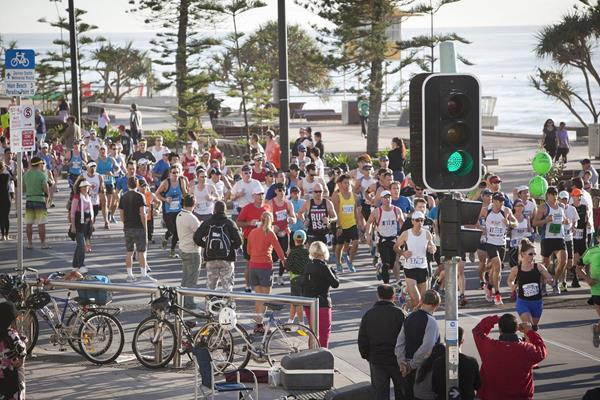 Runners pass the beach front at the 2013 Gold Coast Airport Marathon (Organisers)