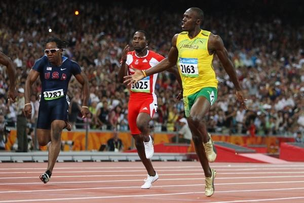 The three Olympic 100m medallists: Walter Dix (bronze), Richard Thompson (silver) and Usain Bolt (gold) (Getty Images)
