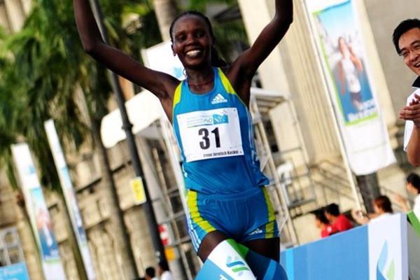 Irene Jerotich Kosgei takes the 2010 Singapore Marathon title (Singapore Marathon organisers)