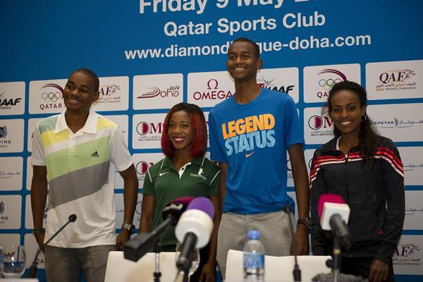 Warren Weir, Shelly-Ann Fraser-Pryce, Mutaz Barshim, Genzebe Dibaba ahead of the 2014 IAAF Diamond League in Doha (Deca Text & Bild)