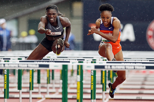 Dawn Harper Nelson and Brianna Rollins at the 2012 US Olympic Trials (Getty Images)