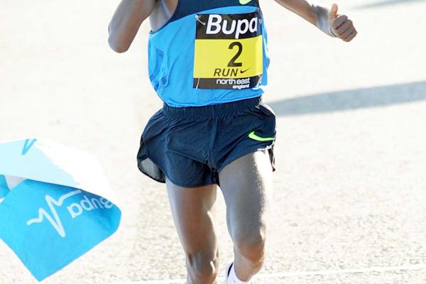 Runaway victory by Tsegaye Kebede at the Great North Run (Mark Shearman)