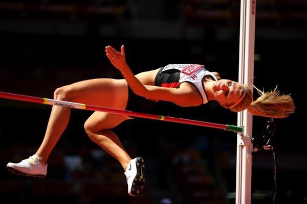 Brianne Theisen-Eaton in the heptathlon high jump at the IAAF World Championships, Beijing 2015 (Getty Images)