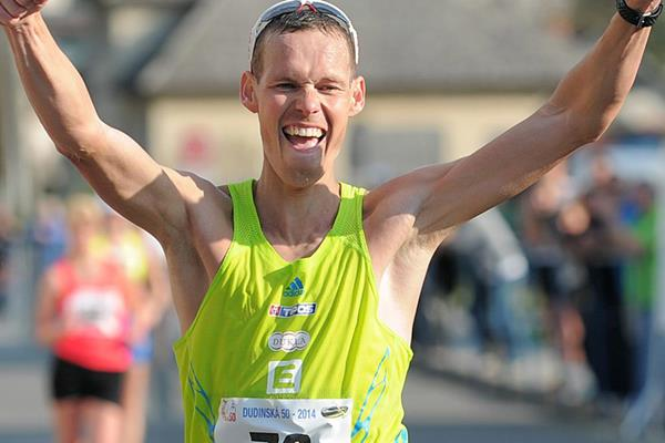 Matej Toth wins the 20km race walk at the 2014 Dudinska patdesiatka  (Martin Havran - SITA)