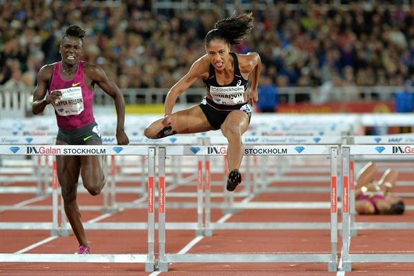 Queen Harrison winning the 100m hurdles at the 2014 IAAF Diamond League meeting in Stiockholm (H&A Sjogren)