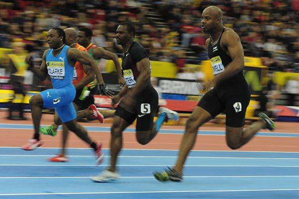 Lerone Clarke on his way to a 60m victory in Birmingham over among others Asafa Powell  (Getty Images)