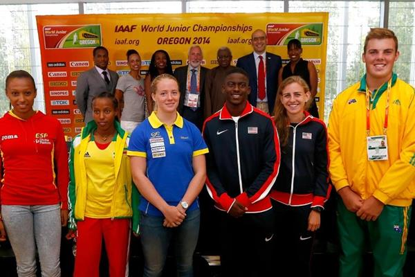 Ana Peleteiro, Dawit Seyaum, Sofi Flink, Trayvon Brommell, Mary Cain and Matthew Denny at the press conference ahead of the IAAF World Junior Championships, Oregon 2014 (Getty Images)