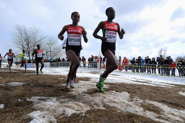 Agnes Tirop leading eventual winner Faith Chepngetich Kipyegon during the junior women's race at the 2013 IAAF World Cross Country Championships, Bydgoszcz, Poland  (Getty Images)