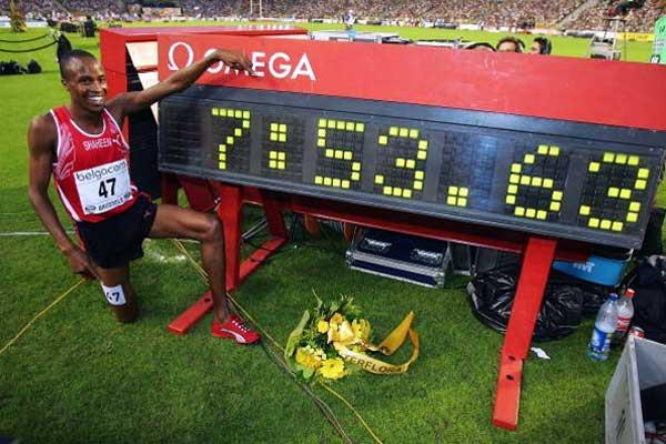 Shaheen sits by his World record clock in Brussels (Getty Images)