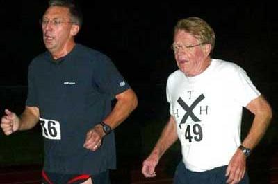 David Moorcroft and Chris Chataway running together on 13 October 2004, the 50-year anniversary of Chataway's 5000m world record (Mark Shearman)