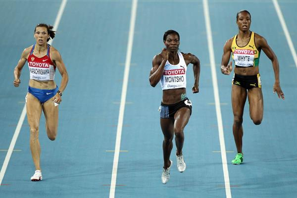 (L-R) Anastasiya Kapachinskaya of Russia, Amantle Montsho of Botswana and Rosemarie Whyte of Jamaica compete during the women's 400 metres semi finals during day two ot the WCH Daegu 2011 (Getty Images)