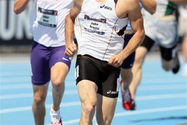"Robert ""Jake"" Arnold in the 1500m heads to overall victory in the Decathlon at 2010 USATF Nationals (Getty Images)"