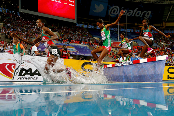 Milcah Chemos in action in the 3000m steeplechase (Getty Images)
