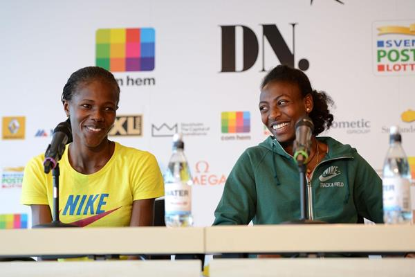 Eunice Sun and Abeba Aregawi at the pre-event press conference of the 2013 IAAF Diamond League meeting in Stockholm (Anders and Hasse Sjogren)