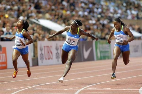 Shelly-Ann Fraser wins the 100m in Lausanne; left top right - Fraser, Stewart, Williams (Olivier ALLENSPACH/Switzerland)