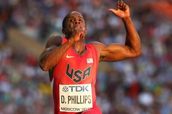 Dwight Phillips in action in the Long Jump final at the 2013 IAAF World Championships in Moscow (Getty Images)