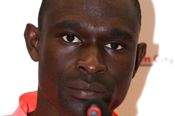 David Rudisha ahead of the 2014 IAAF Diamond League meeting in Birmingham (Jean-Pierre Durand)