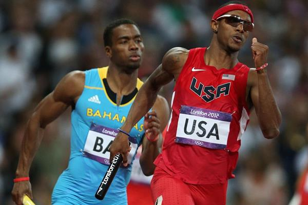 USA's Tony McQuay in the 4x400m (Getty Images)