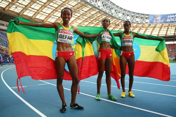 Ethopians in the womens 5000m at the IAAF World Athletics Championships Moscow 2013 (Getty Images)