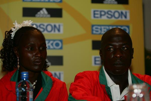 Moses Mosop with Pamela Chepchumba at the IAAF Press Conference in Mombasa (Getty Images)