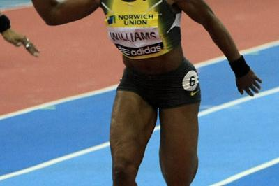 Angela Williams winning the 60m in Birmingham (Getty Images)