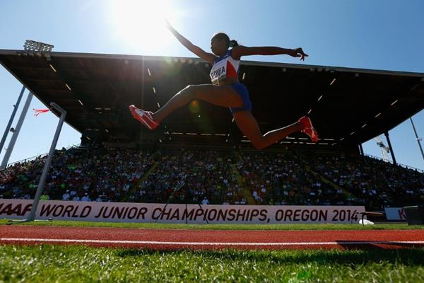 Liadagmis Povea in the triple jump at the IAAF World Junior Championships, Oregon 2014 (Getty Images)